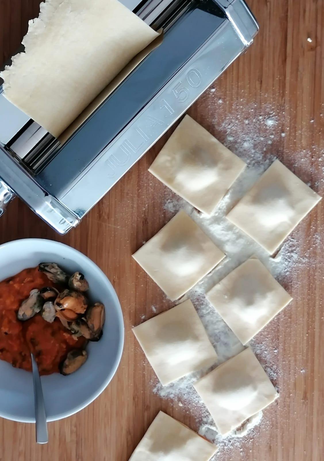 ravioli zelf maken mosselen